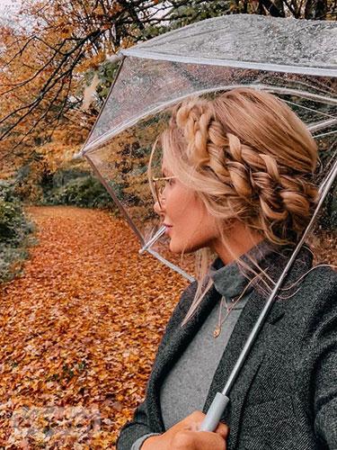 پروفایل فصل پاییز دخترانه شیک با چتر