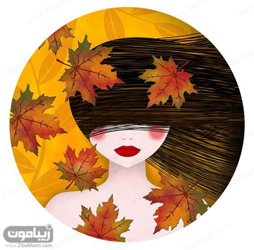تصویر پروفایل دخترونه کارتونی با برگهای پاییزی رنگارنگ