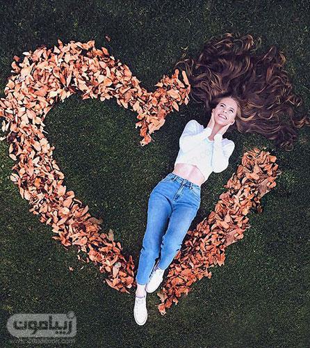 پروفایل پاییزی 99 دخترانه با برگهای پاییزی به شکل قلب