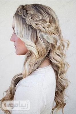 مدل مو فرفری و بافت مو یکطرفه شیک برای عروسی