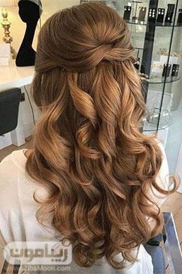 مدل مو باز ساده و فر خورده شیک دخترانه برای عروسی