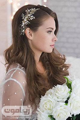 مدل مو باز و جذاب عروس با تاج کریستالی و شکیل