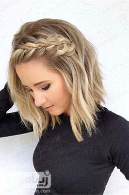 مدل مو باز دخترانه جدید با بافت مو در جلوی سر