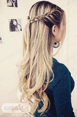 مدل مو موج دار و شیک با بافت مو در جلوی سر برای عروسی و مهمانی