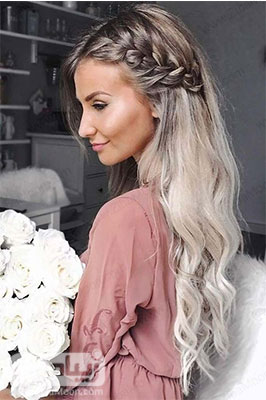 مدل مو باز دخترانه با عروسی و مهمانی با بافت مو در کنار سر