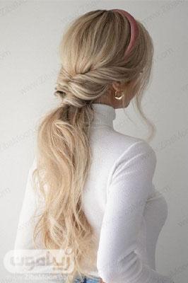 مدل مو باز دخترانه جدید به شکل دم اسبی