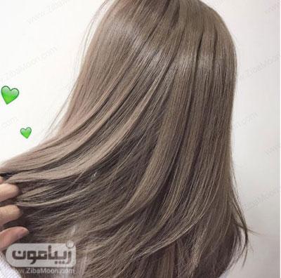 رنگ مو زیتونی و درخشان روی موهای صاف
