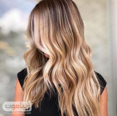 هایلایت مو با رنگ مو بلوند عسلی