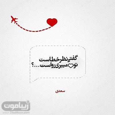 عکس نوشته گفتی نظر خطاست تو دل میبری رواست