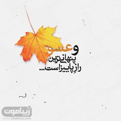 عکس نوشته زیبا عشق پنهانی ترین راز پاییز است