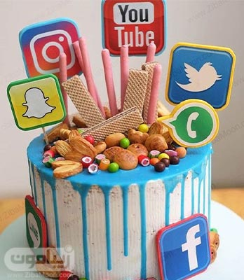 کیک تولد پسرانه با تم شبکه های مجازی