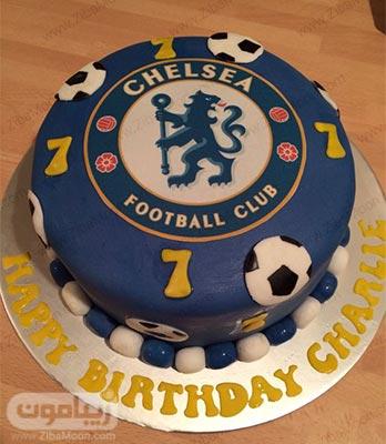 کیک تولد پسرانه با تزیین تیم چلسی