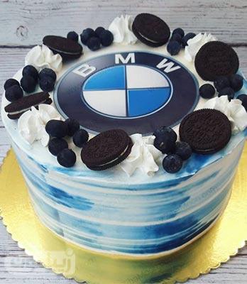 مدل کیک تولد پسرانه شیک و جذاب با لوگو ماشین بی ام دبلیو