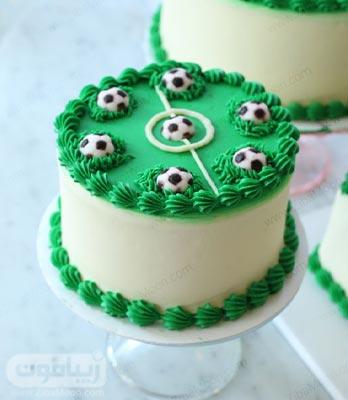 مدل کیک تولد پسرونه زیبا به شکل زمین فوتبال