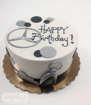کیک تولد پسرانه ساده با لوگو و سوییچ بنز