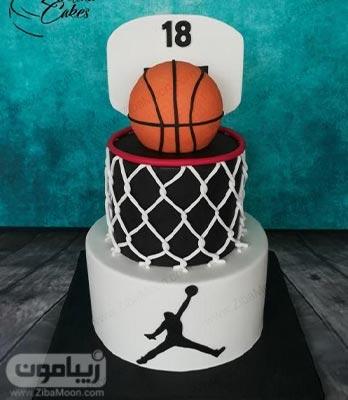 مدل کیک تولد پسرانه فوندانت با تم بسکتبال