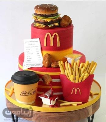 کیک تولد پسرانه فوندانت به شکل غذاهای مک دونالد