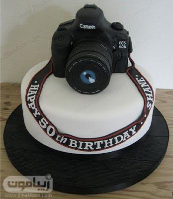 مدل کیک تولد پسرانه فوندانت به شکل دوربین عکاسی