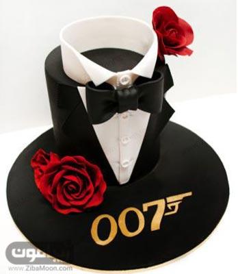 مدل کیک تولد پسرانه شیک و لاکچری با لباس تاکسیدو