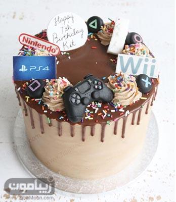 مدل کیک تولد پسرانه شیک و زیبا با تم بازی