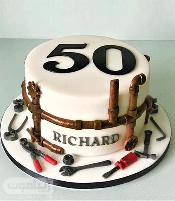 کیک تولد مردانه فوندانتی با تزیین آچار و پیچ گوشتی
