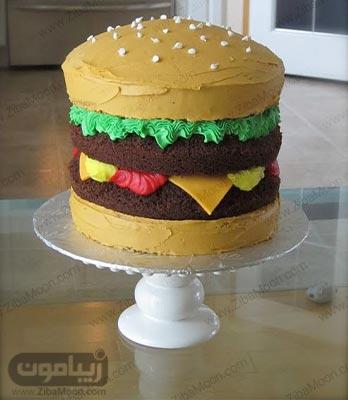 کیک تولد پسرانه شیک و خاص به شکل همبرگر