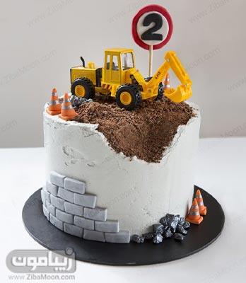 مدل کیک تولد پسرانه با ماشین خاک برداری