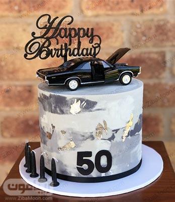 کیک تولد پسرانه ماربل با تزیین ماشین