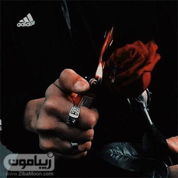 عکس پروفایل پسرونه با گل رز و فندک