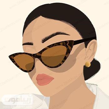 عکس پروفایل دخترانه فانتزی به شکل تقاشی با عینک دودی