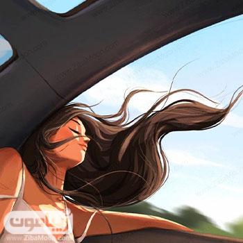 عکس پروفایل دخترانه فانتزی درون ماشین با موهای پریشان در باد