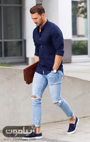 مدل لباس اسپرت پسرونه با شلوار جین لباس و کفش سورمه ای