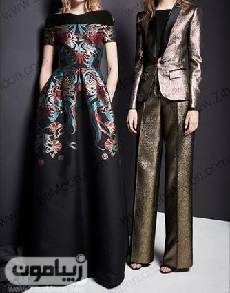 لباس مجلسی خاص و جذاب با پارچه های ژاکارد طرح دار و ساده