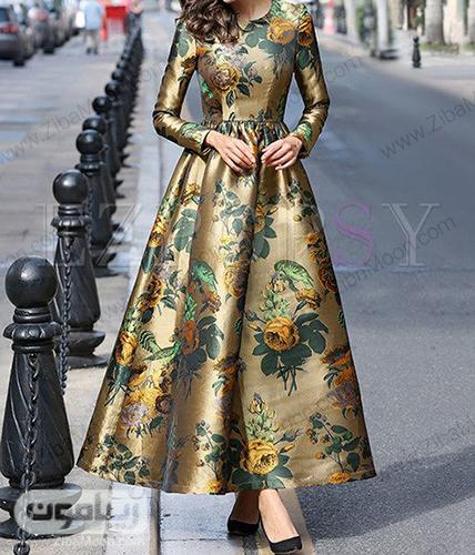 مدل لباس مجلسی با آستین بلند و پارچه ژاکارد طلایی گلدار