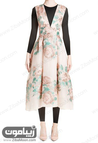 لباس مجلسی ساده و شیک با پارچه ژاکارد کرمی و گلدار