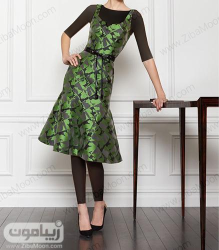لباس مجلسی زنانه خاص با پارجه ژاکارد سبز طرح دار