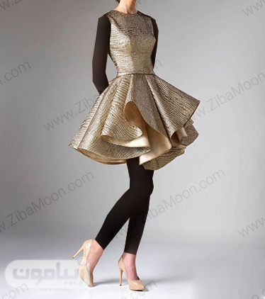 مدل لباس مجلسی دخترونه کوتاه با پارچه ژاکارد طلایی