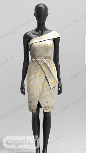 لباس مجلسی کوتاه و شیک با پارچه ژاکارد کرمی و طرح های طلایی