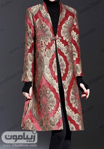 مدل مانتومجلسی زنانه با پارجه ژاکارد زرشکی و طلایی
