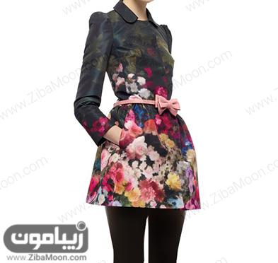 مدل مانتو کوتاه و عروسکی با پارچه ژاکادر مشکی و گادار و رنگی
