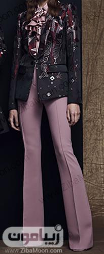 مدل کت و شلوار زنانه و شیک با پارچه ژاکارد مشکی بنفش