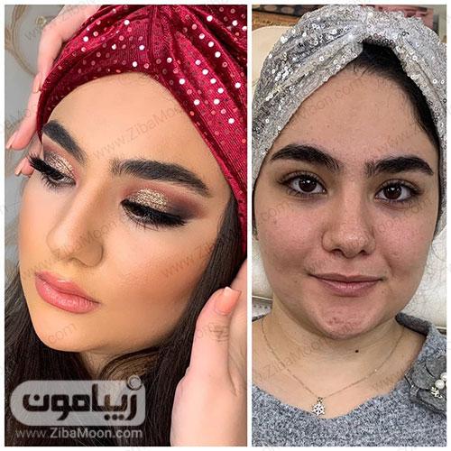 قبل و بعد ارایش دخترونه