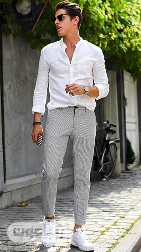 تیپ تابستانی پسرانه با لباس سفید و شلوار خاکستری راه راه