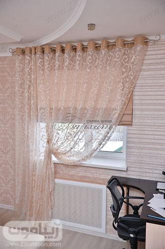 مدل پرده ساده و شیک برای اتاق خواب به رنگ کرمی روشن