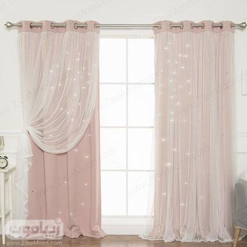 طرح پرده شیک به رنگ صورتی ملایم و پارچه حریری ساده برای اتاق خواب