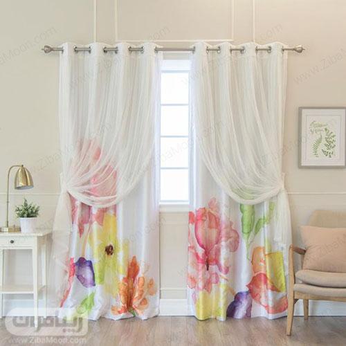 طرح پرده اتاق خواب با پارچه سفید و نقاشی آبرنگی