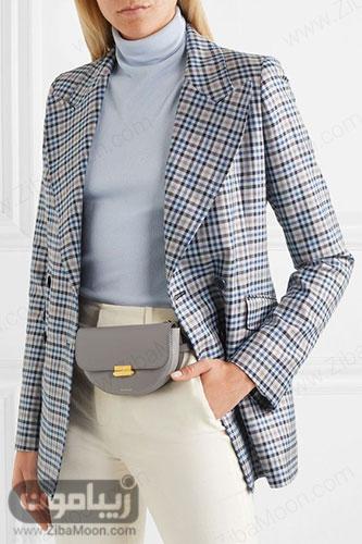 استایل زنانه با کیف کمری چرم توسی