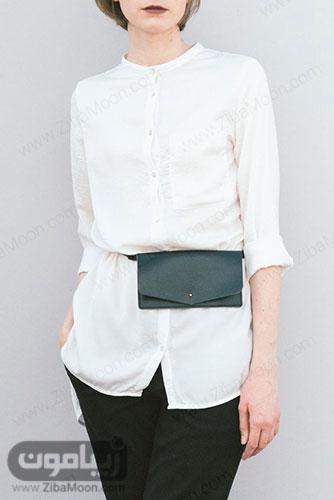 استایل مینیمال با کیف کمری ساده و چرم مشکی