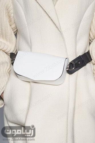 کیف کمری ساده سفید برای استایل خانم ها