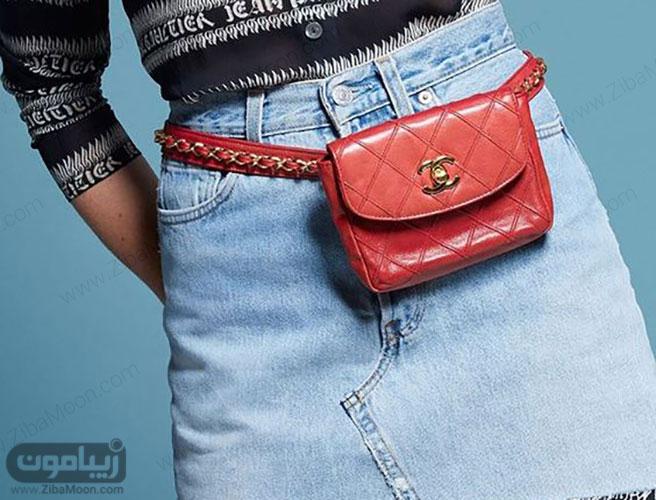 کیف کمری قرمز و شیک از برند شنل برای خانم ها